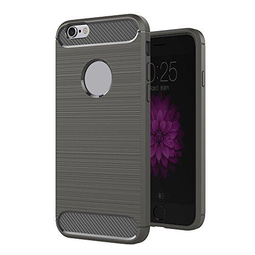 Skitic Brushed Cover TPU Case für iPhone 5/5G/5S/SE, Luxus Carbon Fiber Weiche Zurück Schutzhülle Flexible Shockproof Armor Handytasche Schutz Schale Gebürstet Hülle für Apple iPhone 5/5G/5S/SE 4.0 Zoll (Grau)