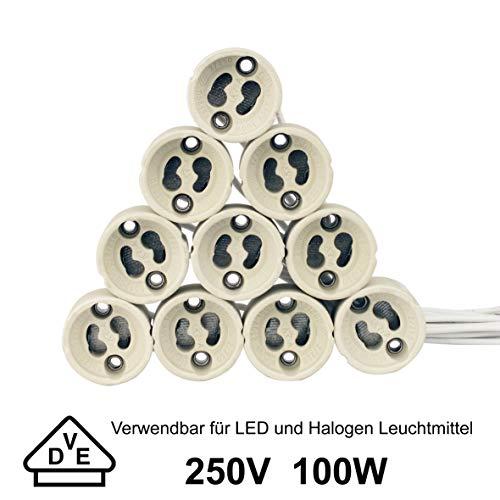 GU10 Bases para lámpara, Portalámparas para GU10, GU10 zócalo de la lámpara, Casquillo de cerámica GU10. Con cable de silicona de calidad de 0,75 mm², Para GU10 LED y halógeno, Pack de 10.