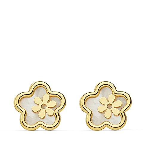 Pendientes de niña o mujer Oro Amarillo 18 ktes Flores nácar 8mm
