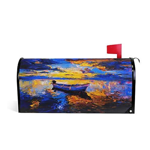 CPYang Öl-Gemälde Sonnenuntergang Strand Boot Magnet Briefkasten Abdeckung für Haus Garten Hof, Deko Makeover Mail Wrap (Vinyl Boot Wrap)