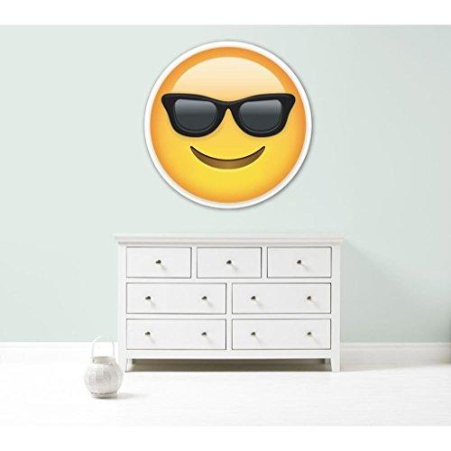 Kapowboom Graphics Emoji-Emoticons Sonnenbrille Cool Giant Vinyl Wandbild Auto Aufkleber Aufkleber 3Größen Schlafzimmer, Vinyl, Medium - 70cm Wide