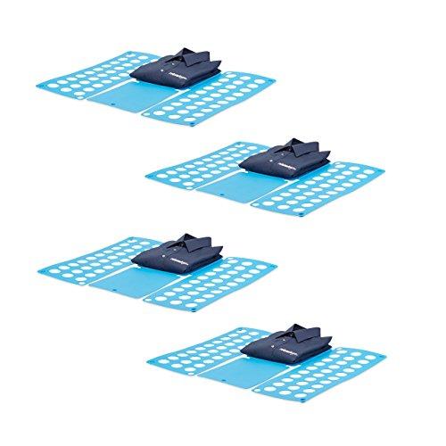 4x Faltbrett Wäsche, Wäschefalter, Hemdenfalter, große Falthilfe, Faltsystem platzsparend, HBT 0,5 x 70,5 x 59 cm, blau