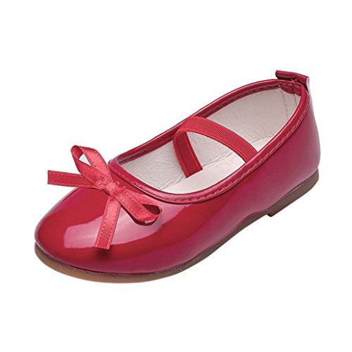 JERFER Baby Mädchen Bogen Weiche Sohle Prinzessin-Schuhe Leistungsschuhe Lederschuhe für 3-8.5T/Jahre Alt (3-3.5T, Rot) (Weihnachten Bögen Outdoor)