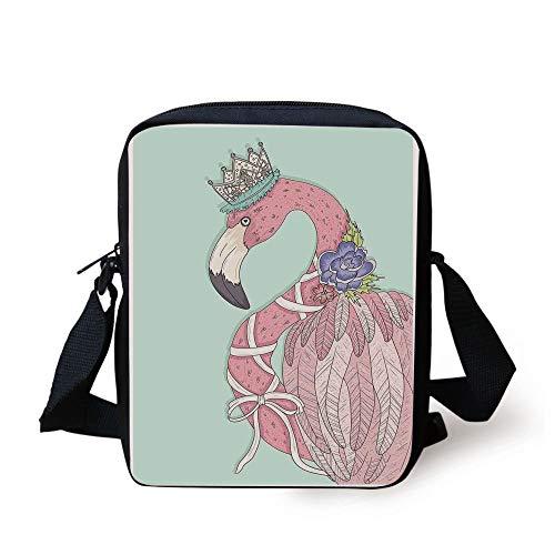 KLYDH Flamingo,Cute Flamingo Flower Crown Ribbon Fairytale Children Kids Artwork,Baby Blue Light Pink White Print Kids Crossbody Messenger Bag Purse -