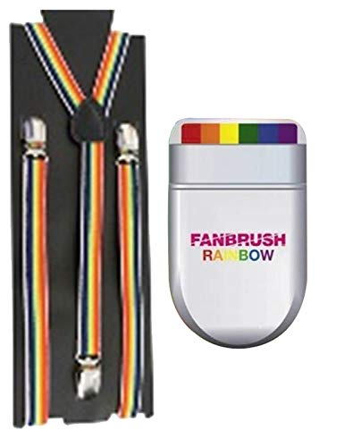 Labreeze Erwachsene Hosenträger mit Fächerpinsel, Regenbogenfarben (Schwuler Kostüm)