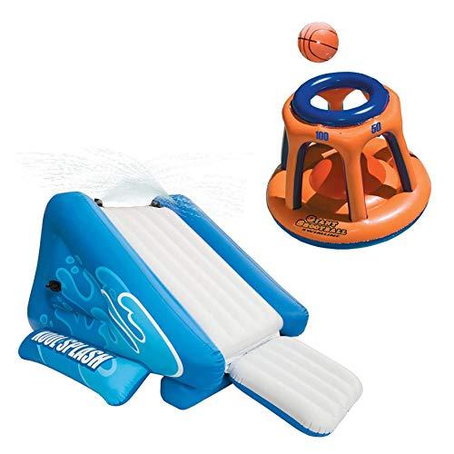 Intex Kool Splash Aufblasbarer Schwimmbad-Wasserrutsche & Riesiger Basketballkorb