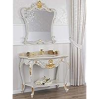 simone guarracino konsolentisch und spiegel eleonor venezianisch barock stil badmobel crackle und blattgold marmor creme
