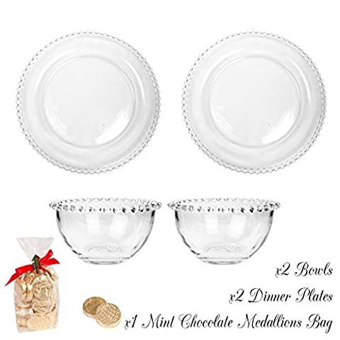 Bella Perle Dinner Party Service for Two - Two settings of Dinner Plate and Bowl - Gift Set with One 175g Package of Luxury Mint Chocolate Medallions - High Quality Luxury Glassware with Beaded Edge - As Used By Nigella Lawson - Perfect for Christmas/Boxing Day/New Years Dinner Party Setting for Two -
