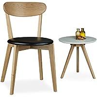 relaxdays chaise en bois de chne coussin hxlxp 79 x 44 x 46 cm salon - Chaise Chene