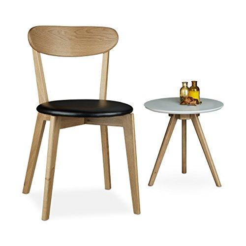Relaxdays Chaise en bois de chêne coussin HxlxP: 79 x 44 x 46 cm salon salle à manger cuisine design moderne retro, noir