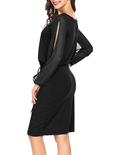 CHIGANT Damen Etuikleid Sexy Transparent Langarm Knielang Rundhals Taille Kleid Knoten Partykleid Schwarz