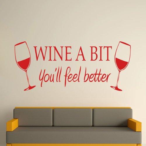 Preisvergleich Produktbild Bluelover DIY-Wein ein bisschen Wand Aufkleber abnehmbare Zimmer Küche Dekoration-rot