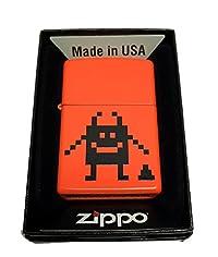 Zippo Custom Lighter - Pixel Character with Poop - Regular Neon Orange