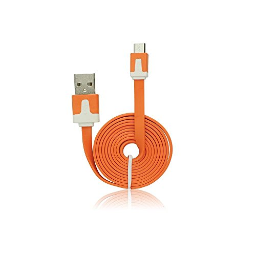 StarBerry® Flachkabel Ladekabel Datenkabel MicroUSB ca.100cm in Orange für Wiko View Lite 2.0 USB Aufladekabel Charge Cable MicroUSB Flexibles und Ultraflaches Kabel | 1m