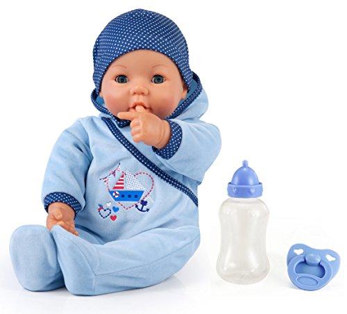 Bayer Design 9468300 9468300-Funktionspuppe Hello Baby Boy mit Zubehör, 46 cm, blau