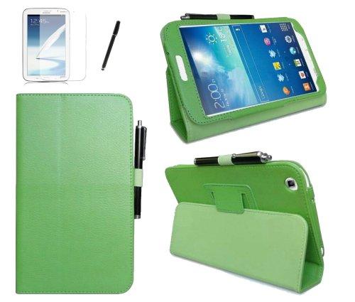 gada - Samsung Galaxy Tab 3 8.0 SM-T310 PREMIUM ULTRA SLIM Leder-Imitat tasche mit praktischer Standfunktion grün inkl. kostenloser Displayfolie und Touch Pen