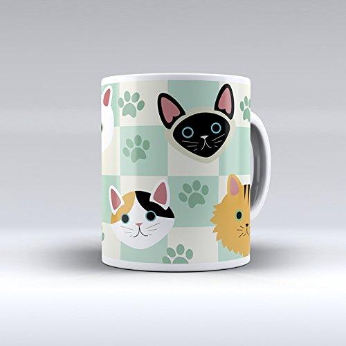 Taza decorada desayuno regalo original diseño estampado gato gatos fo