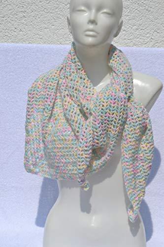 Dreieckstuch Tuch Häkeltuch Sommertuch Schultertuch Halstuch pastell bunt von Hand gehäkelt