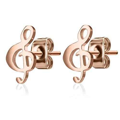 Bungsa rosegoldene Damen-Ohrstecker Notenschlüssel handpoliert I hochwertiges Ohrringe Set für musikalische Frauen Edelstahl