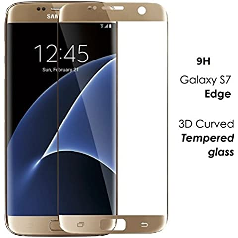 Bester Samsung Galaxy S7 Edge 9H dureza 0.26mm vidrio Cobertura completa templado Protector claro de la pantalla para el Samsung Galaxy S7 Edge (dorado)