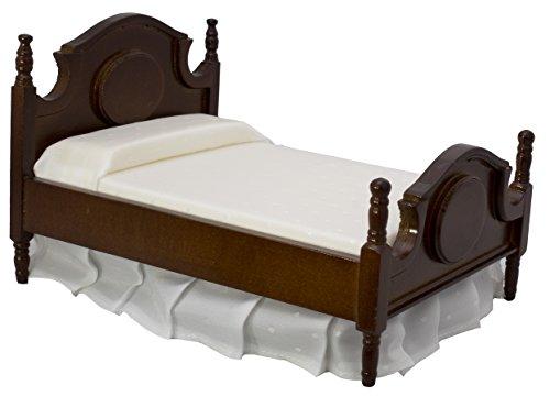 Inusitus Puppenhaus Doppelbett   Miniatur Möbel Bett   Puppen Spielzeug   1/12 Möbel für Kinder (dunkel) -