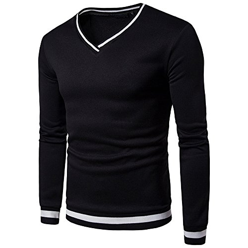 Vertvie Herren Largarmshirt Basic Mode V Ausschnitt Gestreift Hemd Slim Fit T-Shirt Sweatshirt Oberteile Schwarz