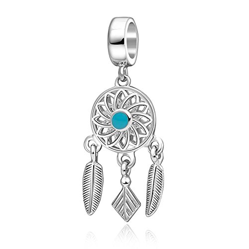 soulbead Lucky Charm de Atrapasueños con plumas de plata de ley 925esmalte azul sueño Bead Fit 3mm Europea pulsera o collar