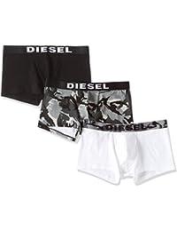 Lot de 3 boxers Diesel en coton stretch noir uni, à motifs camouflage et blanc
