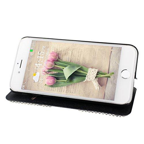 Schutzhülle iPhone 7 Leder, Book Style Hülle für iPhone 7 Bling Glitzer, iPhone 7 Bumper Hülle, [Voll frontal Dreieck Diamant Design] Moon mood® Glitter Case Skin Tasche Ledertasche für Apple iPhone 7 Schwarz