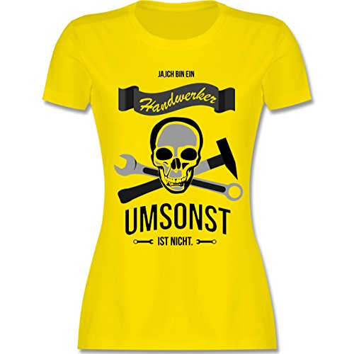 Handwerk - Handwerker Umsonst ist nicht - tailliertes Premium T-Shirt mit Rundhalsausschnitt für Damen Lemon Gelb