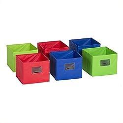 GuideCraft Fabric Bins Set of 6 Multicolored