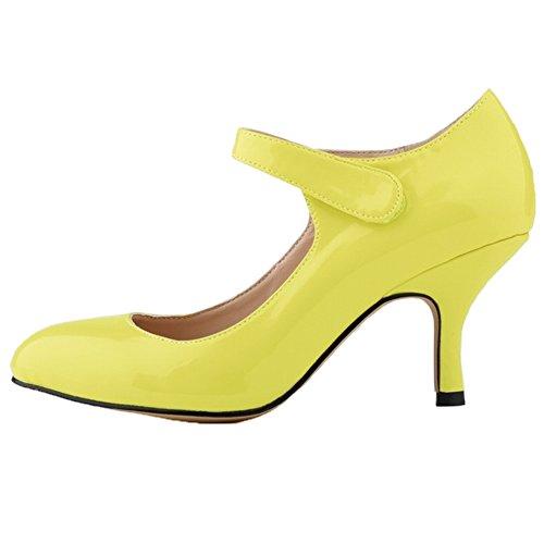 HooH Femmes Kitten Heel Mariage Escarpins Mary Jane Chaussures Citron-1