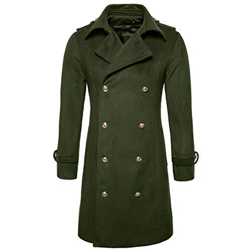 KPILP Herren Warme Winter Trench Revers Woolen Elegante Lange Outwear Zweireiher Windjacke Revers Smart Mantel(G-armeegrün,EU-60/CN-2XL)