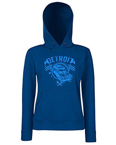 T-Shirtshock - Sweats a capuche Femme TR0039 Detroit Muscle Car T-Shirt Dodge, V8, Hot Rod, US Kult - blue print Bleu Navy