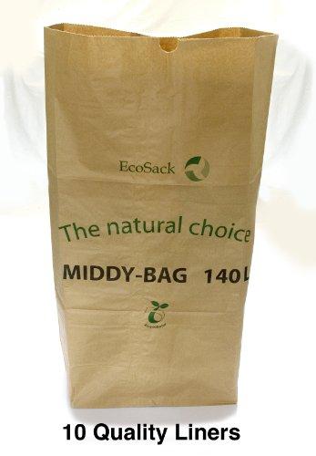EcoSack – Sac Poubelle Biodegradable (Lot de 10, de papier, 140 Litres, biodégradable et compostable)