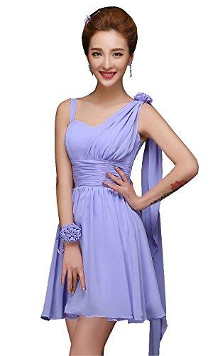 drasawee femmes d'épaule OFF courtes en mousseline de soie robe Junior Homecoming robes Violet