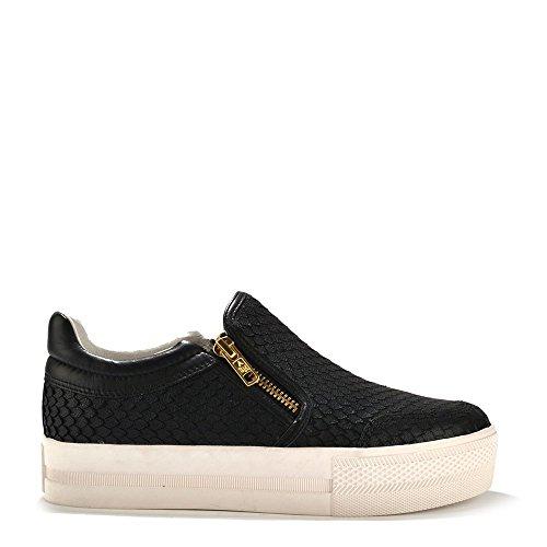 Ash Scarpe Jordy Sneaker di Cuoio Nero, Donna 37 EU Nero