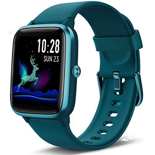 Lintelek Smartwatch Fitness Armband mit Pulsuhr 1,3 Zoll Touchscreen Fitness Uhr Wasserdicht IP68 Armbanduhr Fitness Tracker Sportuhr mit Schrittzähler Pulsuhren für Damen Herren Smart Watch (Grün)