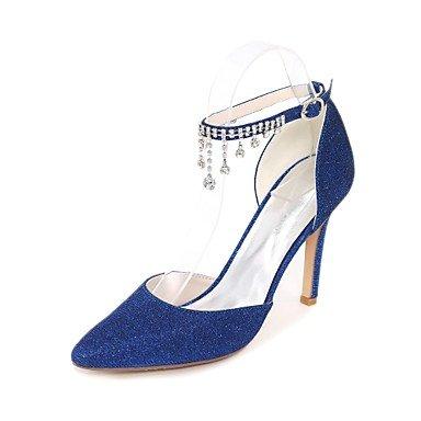 Rtry Femmes Chaussures Pompe De Mariage Base Glitter Printemps Eté Mariage Party & Amp; Mousseux Soirée De Strass Paillettes Stiletto Heelblue Argent Rubis Us9.5-10 / Eu41 / Uk7.5-8 / Cn42