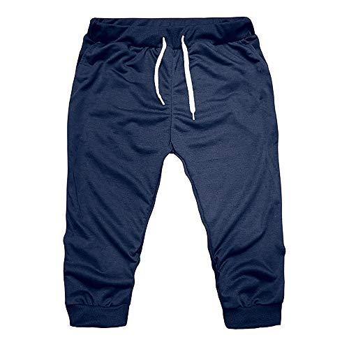 Kneris Herren Leggings komfortable Sportleggings für Männer atmungsaktive Capri Slim Fit Hose -