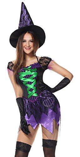 Honeystore Damen's Kostüm Halloween Fasching Karneval Hexe Mittelalter Zauberin Cosplay Kleid Kostüm Violett M