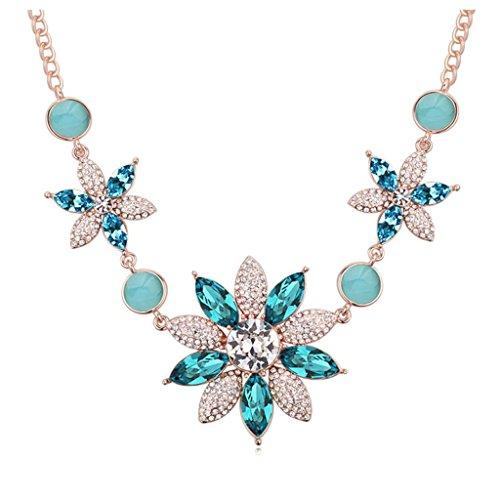 Aooaz Femmes Pendentif Collier Alliage Zircon Cristal Or Rond Fleurs Pendentif Collier Femmes Coloré Mariage Mer Bleu
