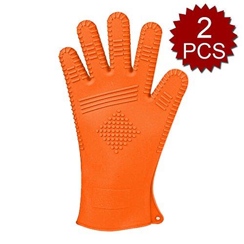 Aspire Lot de 2 Coque en silicone protection contre la chaleur Gant de Barbecue, grill Gants de cuisine, Orange, Taille unique