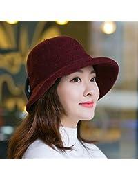 64fff0169 LIUXINDA-MZ Sombrero Mujer otoño e Invierno Sombrero Salvaje Boina Invierno  señoras Sombrero, Rojo