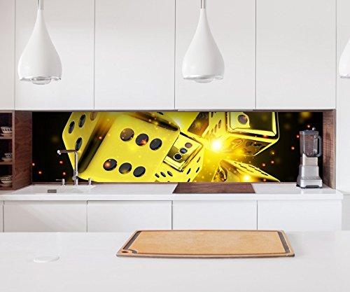 Aufkleber Küchenrückwand Würfel würfeln gelb Glück 6 Spiel Glücksspiel Kitchen Küche Folie Fliesen Möbelfolie Spritzschutz 22?1645, Höhe x Länge:70cm x 200cm (Würfel-glücksspiel)