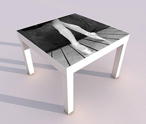 Design - Tisch mit UV Druck 55x55cm schwarz weiß Sport Ballett Balletschuhe Schuhe Spieltisch Lack Tische Bild Bilder Kinderzimmer Möbel 18A793, Tisch 1:55x55cm