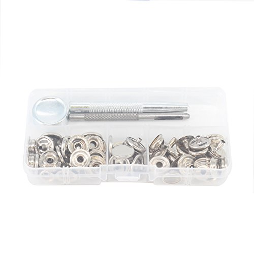 20Stück–15mm silber presss Nieten Druckknöpfe mit 3Set Hand-Werkzeug für Leder Craft, Kleidung repairm, Arts und Projekte von trimmen Shop (Snap Leder Fühlen)
