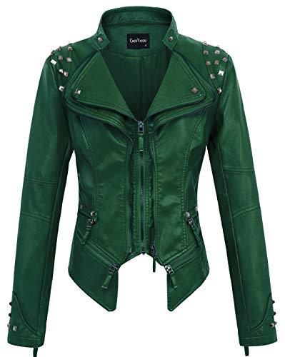 Chouyatou, giacca da motociclista da donna, alla moda, con borchie, in finta pelle - verde - m