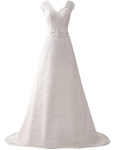 JAEDEN Damen V-Ausschnitt Lange Hochzeitskleider A Linie Spitze Brautkleider Elfenbein EUR44