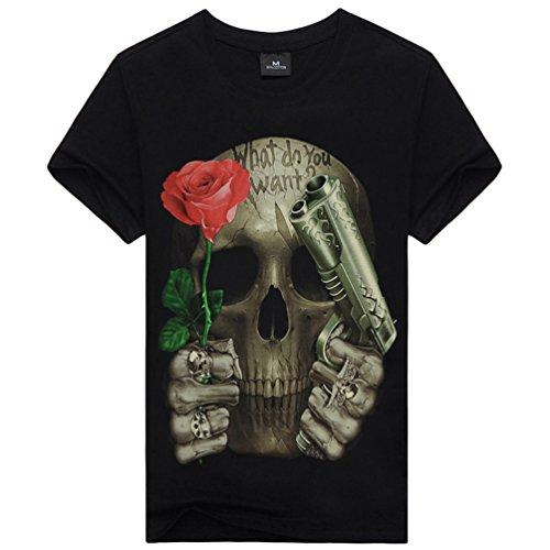 Kairuun Hombre Camisetas 3D Calavera Rock T-Shirts Verano Punk...